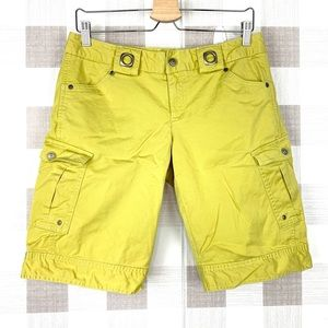 Athleta Kick It Cargo Hiking Shorts Mustard Yellow